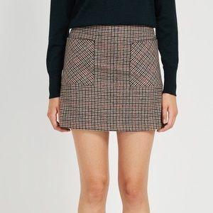 Frank and Oak Glen Check Wool Skirt